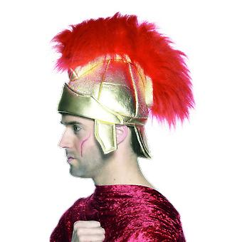Roman Soldier Gold Helmet With Red Faux Fur Fancy Dress Costume Accessory