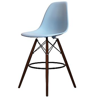 Charles Eames Style Blue Plastic Bar Stool - Jambes de noyer