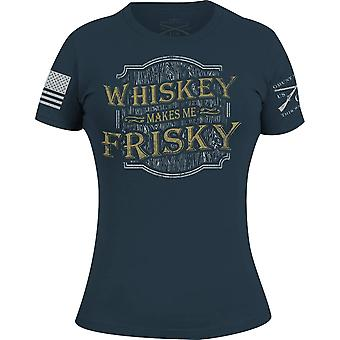 Grunt Style Women's Whiskey Makes Me Frisky T-Shirt - Indigo