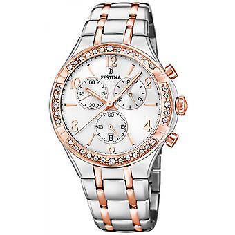 Festina-Freund F20394-1 Uhr - Silber Rosa Zifferblatt Zweifarbig zweifarbig Armbanduhr Rosa Frau