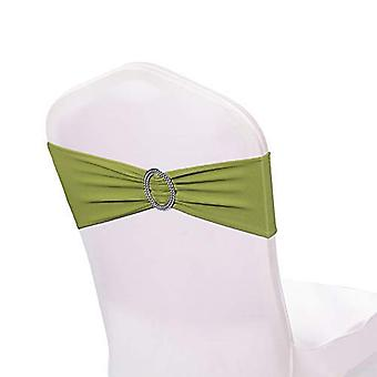Sage Green Plain Stretchable Spandex Chair Sashes With Round Diamante Buckles