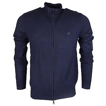 Emporio Armani Funnel Neck Zip Up Navy Knitwear Cardigan