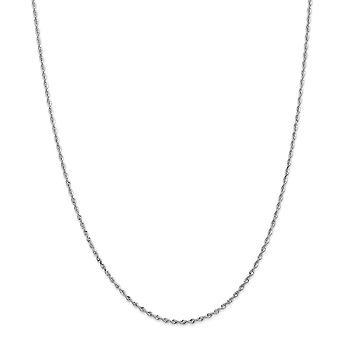 14k biele zlato 1.84 mm Sparkle rezané štvorlôžkové lano reťaz členok náramok šperky Darčeky pre ženy-dĺžka: 7 až 10