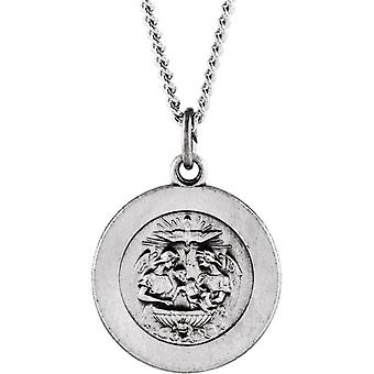 925 Sterling Silver Round Baptism Pendant Medal 14.75 Jewelry Gifts for Women - 4.4 Grams