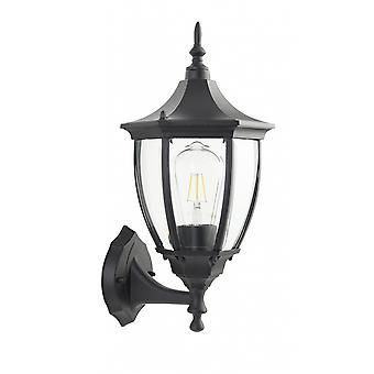 THLC Traditional Large 6 Sided Black Ip44 Outdoor Upward Facing Wall Lantern Light