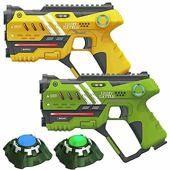 2 Anti-Cheat lasergame pistolen - geel en groen + 2 targets