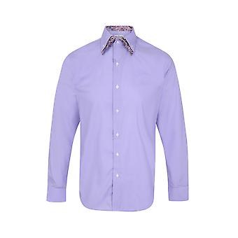 JSS Plain Lilac Regular Fit 100% Cotton Shirt With Paisley Double Collar