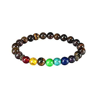 Chakra bracelet with brown beads