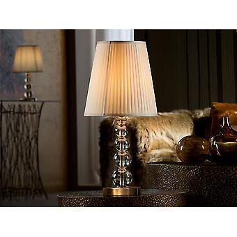 Schuller Mercury - Große Tischleuchte mit 1 Licht. Aus Glas in Champagner-Tonalität, Metallteilen und Basis in gereiftem Messing-Finish. Ribboned beige Schatten. - 661457NUK