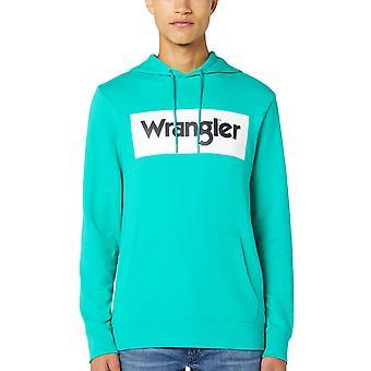 Wrangler hombres logo algodón casual sudadera con capucha sudadera Top - Peacock Green