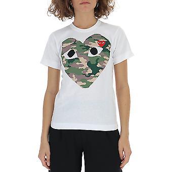 Comme Des Garçons Play P1t2411 Women's White Cotton T-shirt