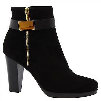 Leonardo Sko Kvinner's håndlagde hæler ankelstøvler svart semsket skinn glidelås lukking