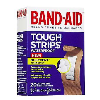 Band-aid tough-strips waterproof bandages, one size, 20 ea