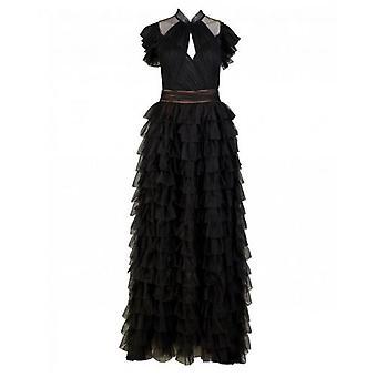 Forever Unique Maya Mesh Ruffle Dress