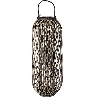Wellindal Brown wicker with glass candleholder glass