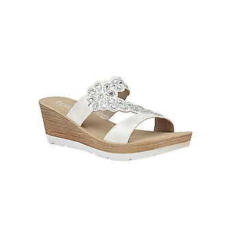 Lotus Catania Wedge Mule Sandals in bianco