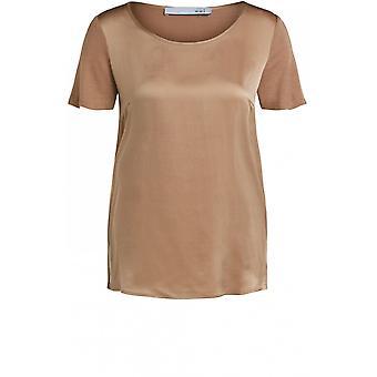 Camiseta da Frente de Seda de Camelo Oui