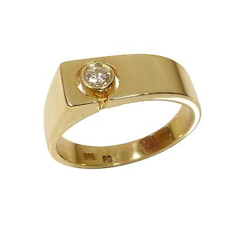 Yellow gold cachet ring with diamond