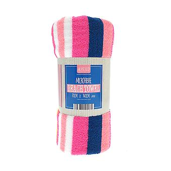 Country Club Pink and Yellow Stripe Beach Towel