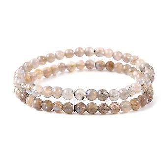 Perler Labradorite Beaded armbånd til kvinder Sterling Sølv Størrelse 6,5