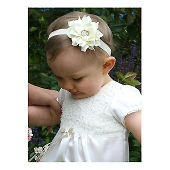 Baptismal Diadem With Off White Rhinestone Flower - Grace Of Sweden