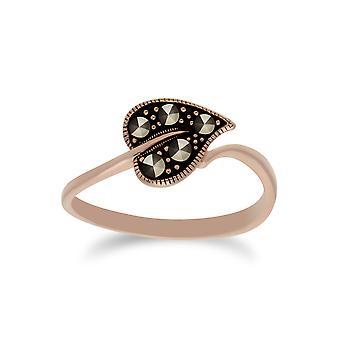 Rose vergoldet Runde Marcasite Blatt Design Ring in 925 Sterling Silber 224R030501925