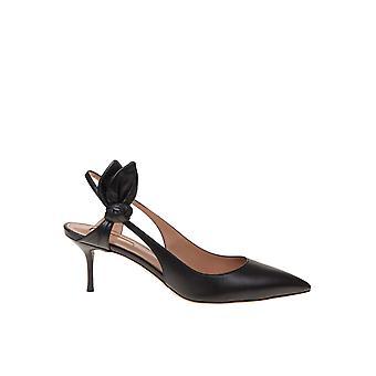 Aquazzura Drwmidp0nap000 Kvinnor's svarta lädersandaler