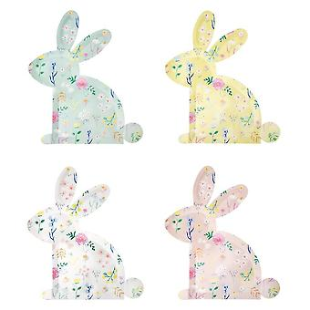 Meri Meri Wildflower Bunny Shaped Paper Party Plates x 12 Easter