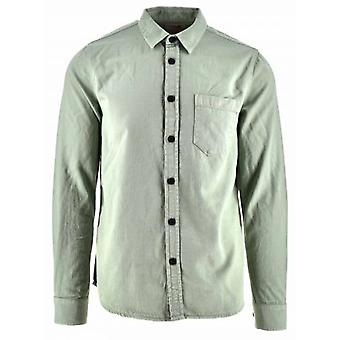 Nudie Jeans Henry Pale Green Cotton Over Shirt