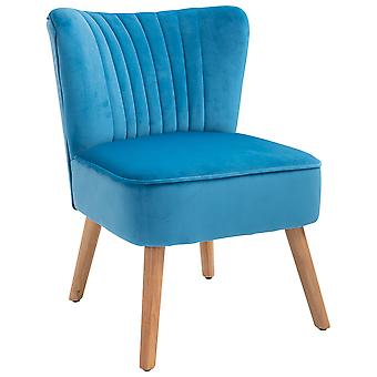 HOMCOM Luxe Velvet-Feel Accent Chair Tub Seat Padding Curved Back w/ Wood Frame Legs Armless Comfort Seat Bedroom Dressing Living Room Home Furniture Azure Blue