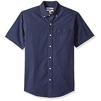 أساسيات الرجال & apos;ق سليم صالح قصيرة الأكمام جيب قميص أكسفورد, البحرية, كبيرة