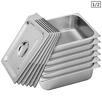 SOGA 6X Gastronorm GN Pan Full Size 1/2 GN Pan 10cm Deep Stainless Steel Tray With Lid