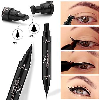 Double Headed Seal Black Eyeliner- Triangle Seal, Stamp Waterproof Makeup