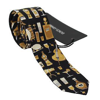Dolce & Gabbana Black Printed 100% Silk Classic Wide Necktie Tie -- KRA7292656