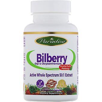 Paradise Herbs, Bilberry, GoJi & Chrysanthemum, 60 Vegetarian Capsules