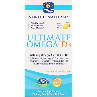 Nordic Naturals, Ultimate Omega-D3, Lemon, 1.000 mg, 120 Zachte Gels