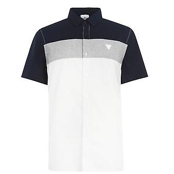 Soviet Mens Cut and Sew Shirt Folded Collar Button Fastening Short Sleeve Top