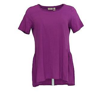 LOGO by Lori Goldstein Women's Top Knit w/ Seam Details Purple A344399