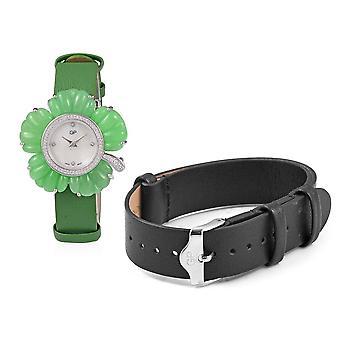 GP Zwitserse Beweging Waterbestendig gesneden Jade, gesimuleerde Diamond Watch