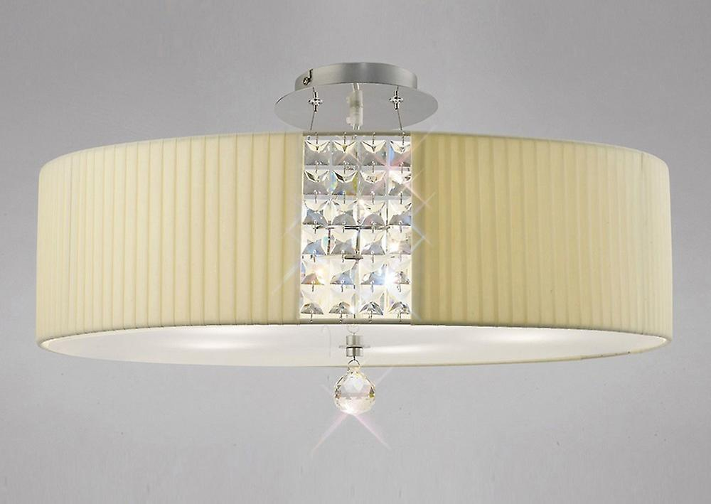 Inspired Diyas - Evelyn - Ceiling Pendant Round with Cream Shade 5 Light Polished Chrome, Crystal