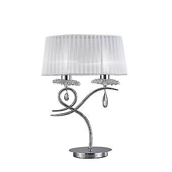 Inspiriert Mantra - Louise - Tischlampe 2 Licht E27 groß mit weißen Farbton poliert Chrom, klare Kristall