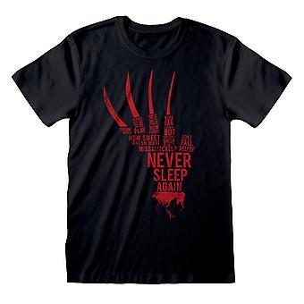 Nightmare On Elm Street Unisex Adult Never Sleep Again T-Shirt