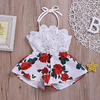 Summer Newborn Baby Clothes Sleeveless Lace Flower Print Strap Romper Jumpsuit