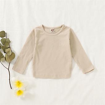 Camisetas infantis, algodão de manga comprida, pescoço redondo