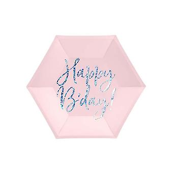 Pink Hexagon Happy B'day Plates x 6 - Ziua de naștere Ață