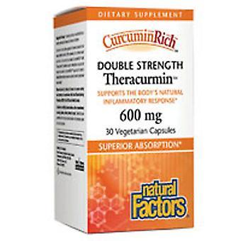 العوامل الطبيعية Curcuminrich قوة مزدوجة Theracurmin، 60 ملغ، 30 Vcaps