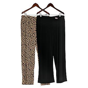 IMAN Global Chic Women's Pants Luxury Resort 2-Pack Palazzo Black 685-966