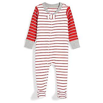 Moon and Back Baby Organic Footed Zip-Front Sleep and Play, red/White Stripe,...