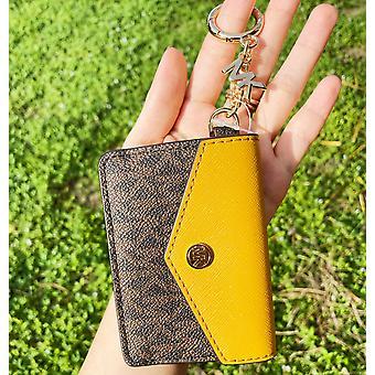 Michael kors kala keychain card case brown mk signature pvc marigold leather