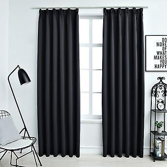 vidaXL Blackout curtains with hook 2 pcs. black 140x225cm
